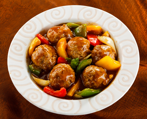 recipe: sweet and sour meatballs with pineapple and tomato sauce [13]